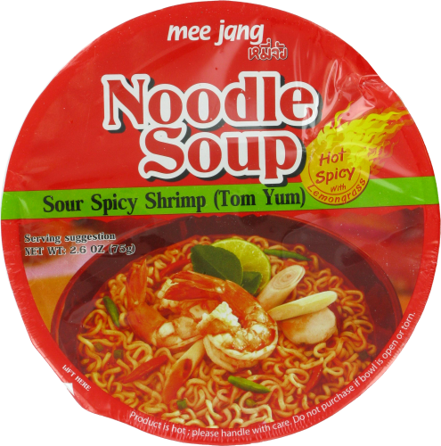 Mee Jang Sour Spicy Shrimp Tom Yum Noodle Soup Perspective: front
