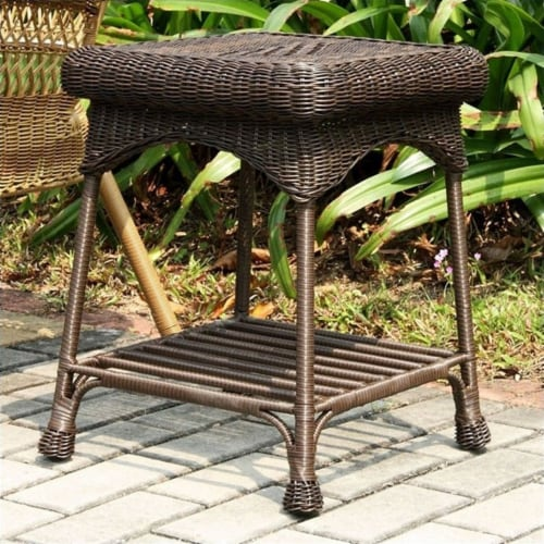 Wicker Patio End Table in Espresso - Jeco Inc. Perspective: front