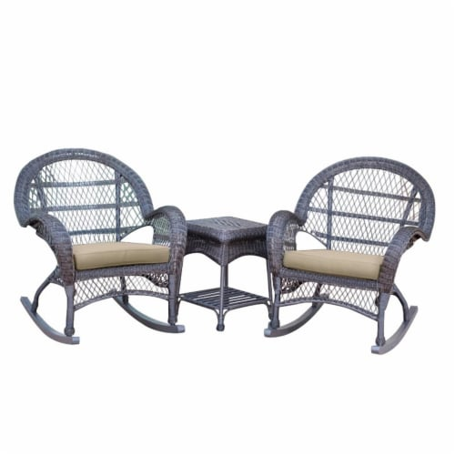 Jeco 3 Piece Wicker Conversation Set in Espresso with Tan Cushions Perspective: front
