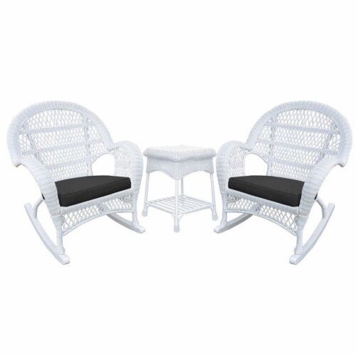 Jeco 3 Piece Wicker Conversation Set in White with Black Cushions Perspective: front