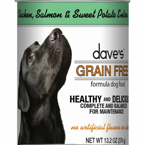 Daves Pet Food DP11745 Grain-Free Chicken, Salmon & Sweet Potato Entree Canned Dog Food - 13 Perspective: front