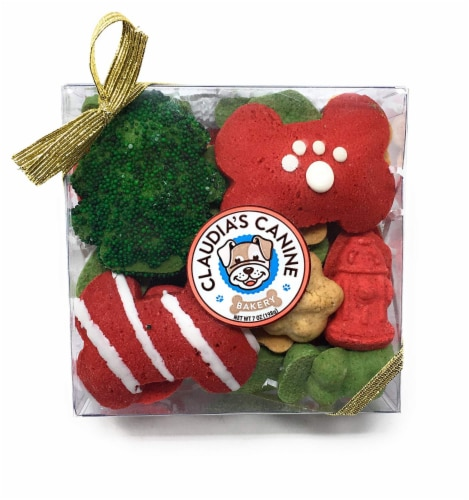 Claudia's Canine Bakery Gourmet Christmas Dog Treat Gift Box (Max's Holiday Munch) Perspective: front