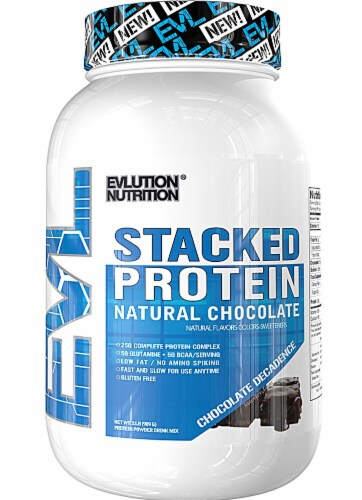 Evlution Nutrition  Stacked Protein Powder Drink Mix Natural Flavors   Chocolate Decadense Perspective: front