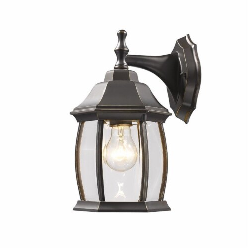 Z-Lite Waterdown Outdoor Wall Light in Clear and Oil Rubbed Bronze Perspective: front