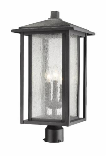 3 Light Outdoor Post Mount Fixture - 554PHXLR-BK Perspective: front