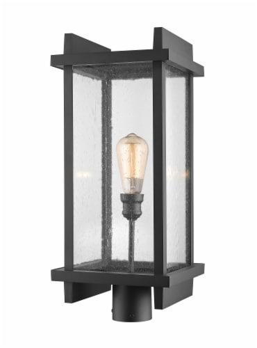 1 Light Outdoor Post Mount Fixture - 565PHBR-BK Perspective: front