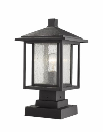 1 Light Outdoor Pier Mounted Fixture - 554PHMS-SQPM-BK Perspective: front