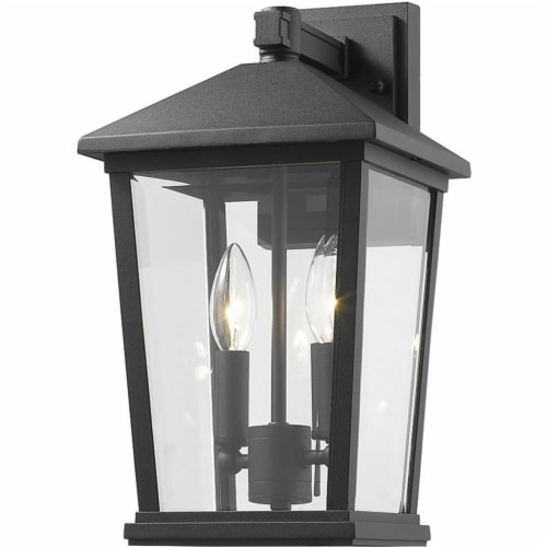 Z-Lite Beacon 2 Light 15  Clear Glass Aluminum Outdoor Wall Sconce in Black Perspective: front