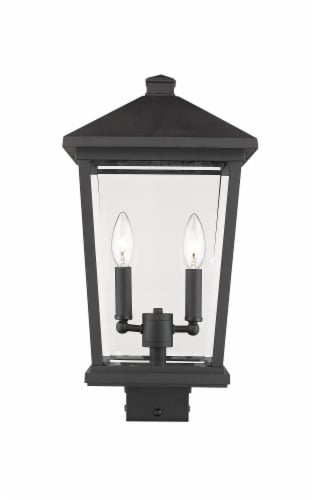Beacon 2 Light Outdoor Post Mount Fixture Clear Beveled Perspective: front