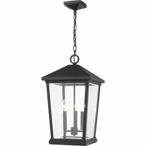 Z-Lite Beacon 3 Light 22  Clear Glass Aluminum Outdoor Pendant in Black Perspective: front