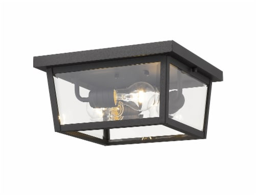 Beacon 3 Light Outdoor Flush Ceiling Mount Fixture Clear Beveled Perspective: front