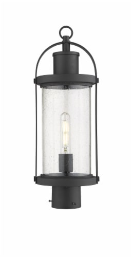 Roundhouse 1 Light Outdoor Post Mount Fixture Clear Seedy Perspective: front