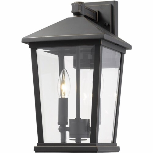 Z-Lite Beacon 2 Light 15  Clear Glass Aluminum Outdoor Wall Sconce in Bronze Perspective: front