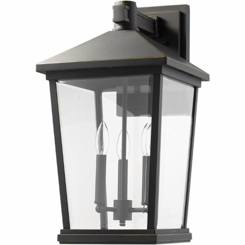 Beacon 3 Light Outdoor Wall Sconce Clear Beveled Perspective: front