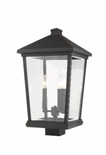 Beacon 3 Light Outdoor Post Mount Fixture Clear Beveled Perspective: front
