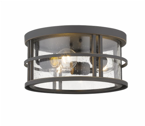 Jordan 3 Light Outdoor Flush Ceiling Mount Fixture Clear Seedy Perspective: front