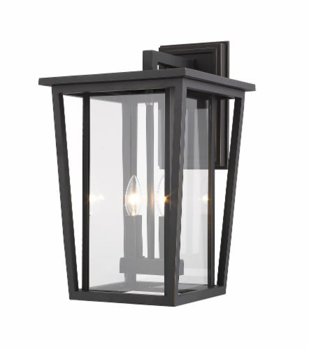 Z-Lite Seoul 2 Light 19  Clear Glass Aluminum Outdoor Wall Sconce in Bronze Perspective: front