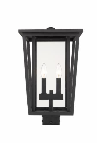 Seoul 2 Light Outdoor Post Mount Fixture Clear Perspective: front