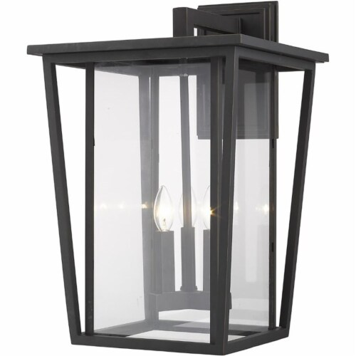 Z-Lite Seoul 3 Light 23  Clear Glass Aluminum Outdoor Wall Sconce in Bronze Perspective: front