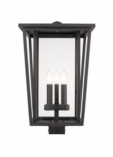 Seoul 3 Light Outdoor Post Mount Fixture Clear Perspective: front
