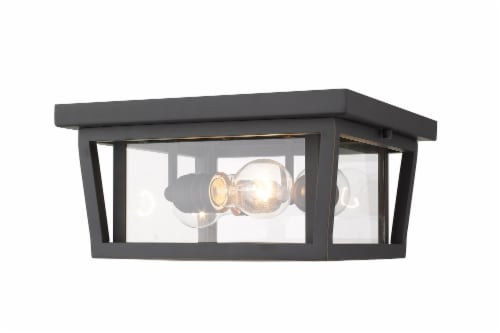 Seoul 3 Light Outdoor Flush Ceiling Mount Fixture Clear Perspective: front