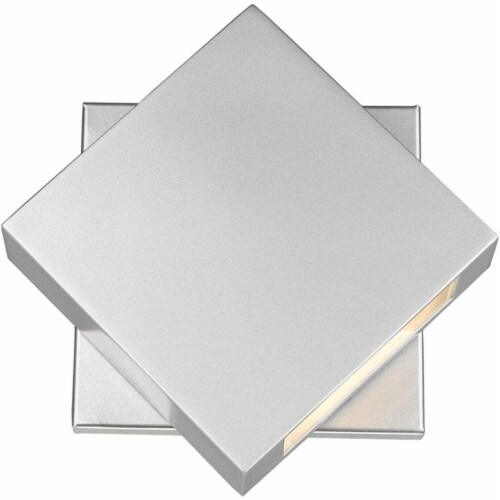 Z-Lite Quadrate 9  Sand Blast Glass Aluminum Outdoor LED Wall Sconce in Silver Perspective: front