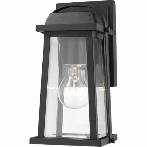 Z-Lite Millworks Clear Glass Aluminum Outdoor Wall Sconce in Black Perspective: front