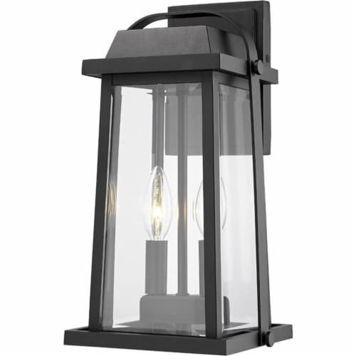 Z-Lite Millworks 2 Light Clear Glass Aluminum Outdoor Wall Sconce in Black Perspective: front
