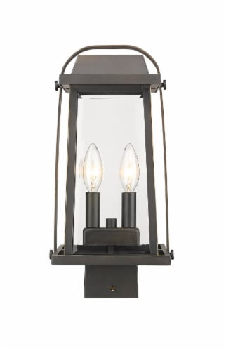 Millworks 2 Light Outdoor Post Mount Fixture Clear Beveled Perspective: front
