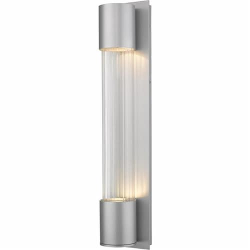 Striate 2 Light Outdoor Wall Sconce Clear Optic Glass Perspective: front