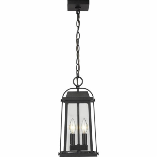 Millworks 2 Light Outdoor Chain Mount Ceiling Fixture Clear Beveled Perspective: front