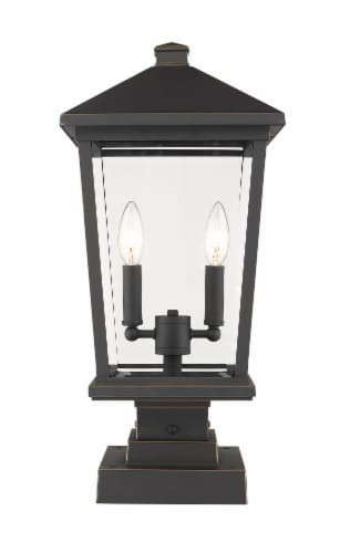 Beacon 2 Light Outdoor Pier Mounted Fixture Clear Beveled Perspective: front
