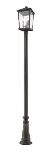 Beacon 3 Light Outdoor Post Mounted Fixture Clear Beveled Perspective: front
