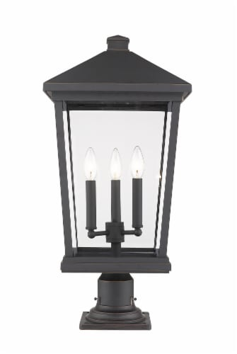 Beacon 3 Light Outdoor Pier Mounted Fixture Clear Beveled Perspective: front