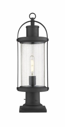 Roundhouse 1 Light Outdoor Pier Mounted Fixture Clear Seedy Perspective: front
