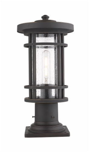 Jordan 1 Light Outdoor Pier Mounted Fixture Clear Seedy Perspective: front