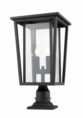 Seoul 2 Light Outdoor Pier Mounted Fixture Clear Perspective: front