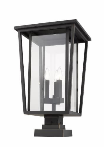 Seoul 3 Light Outdoor Pier Mounted Fixture Clear Perspective: front