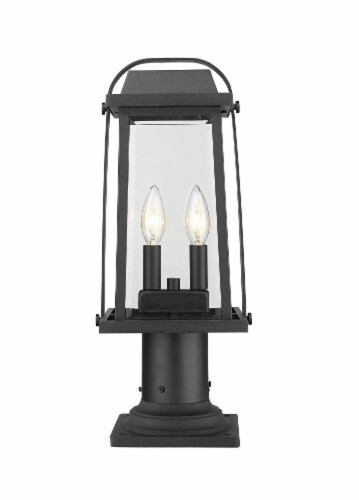 Millworks 2 Light Outdoor Pier Mounted Fixture Clear Beveled Perspective: front