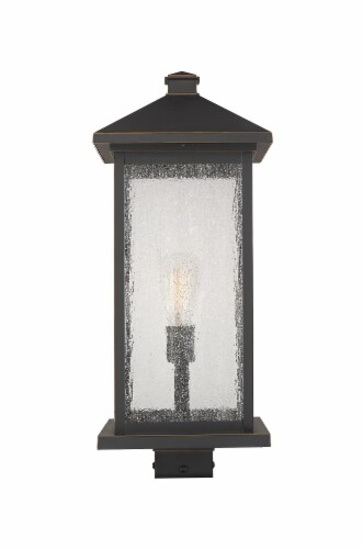 Portland 1 Light Outdoor Post Mount Fixture Clear Seedy Perspective: front