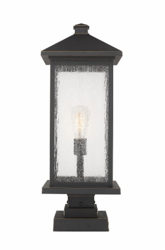Portland 1 Light Outdoor Pier Mounted Fixture Clear Beveled Perspective: front