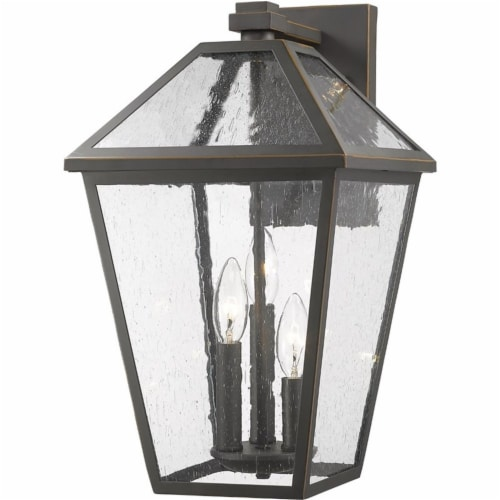 Z-Lite Talbot 3 Light 18  Seedy Glass Steel Outdoor Wall Sconce in Bronze Perspective: front