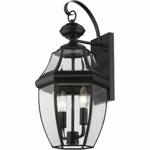 """Z-Lite Westover 2 Light 20"""""""" Clear Glass Brass Outdoor Wall Sconce in Black Perspective: front"""