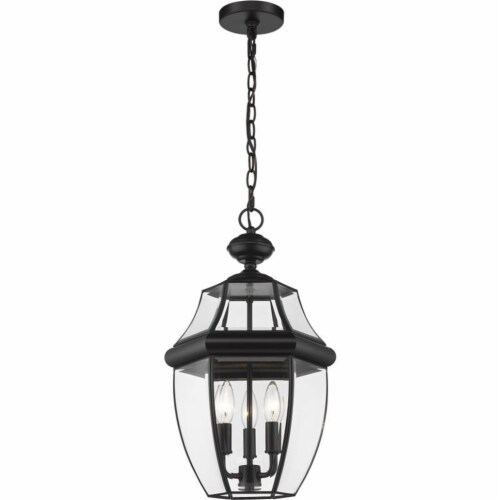 3 Light Outdoor Chain Mount Ceiling Fixture Frame Finish Black Perspective: front