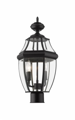 2 Light Outdoor Post Mount Fixture Frame Finish Black Perspective: front
