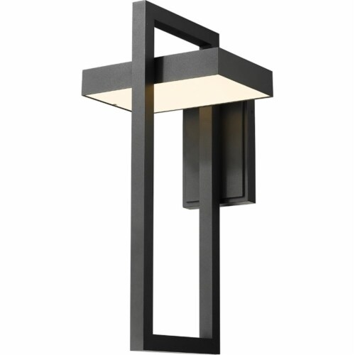 Z-Lite Luttrel 25  Sand Blasted Glass Aluminum Outdoor LED Wall Sconce in Black Perspective: front