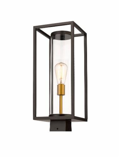 1 Light Outdoor Post Mount Fixture Frame Finish Deep Bronze + Outdoor Brass Perspective: front