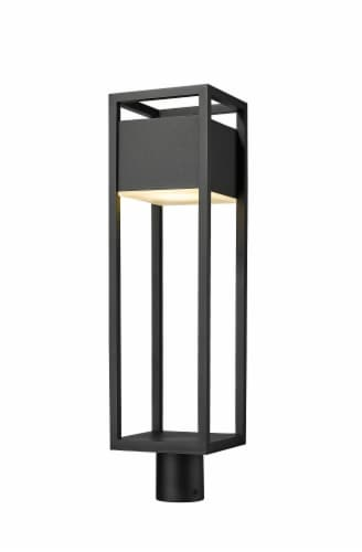 1 Light Outdoor Post Mount Fixture Frame Finish Black Perspective: front