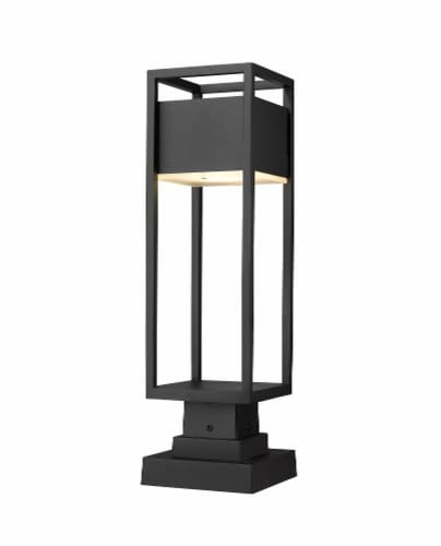 1 Light Outdoor Pier Mounted Fixture Frame Finish Black Perspective: front