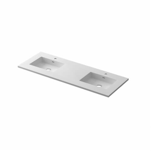 """VIVA Stone 60"""" Double Sink Matte White - Solid Surface Countertop Perspective: front"""